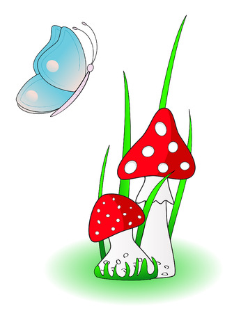 Red mushroom with Blue butterfly Vector
