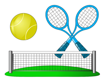 attribute: Tennis attributes on white Illustration