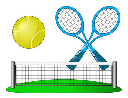 racket: Tennis attributes on white Illustration