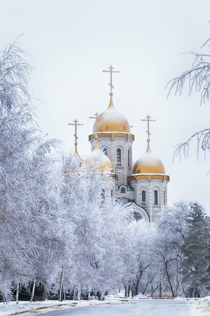 Domes of a church in a winter snow-covered park Stock Photo