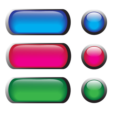 glass buttons: vector illustrations of glossy glass buttons for icons