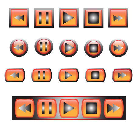 button icons: Vector glossy button icons set