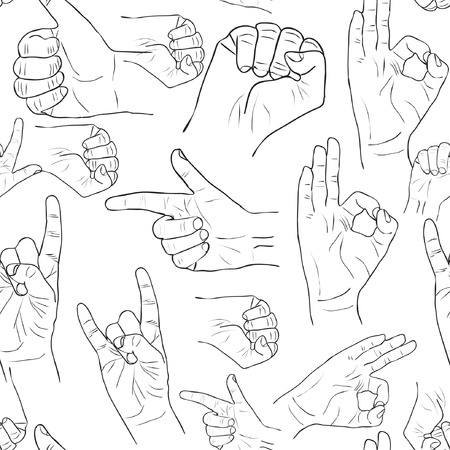 human hand: Hands collection - vector line illustration pattern