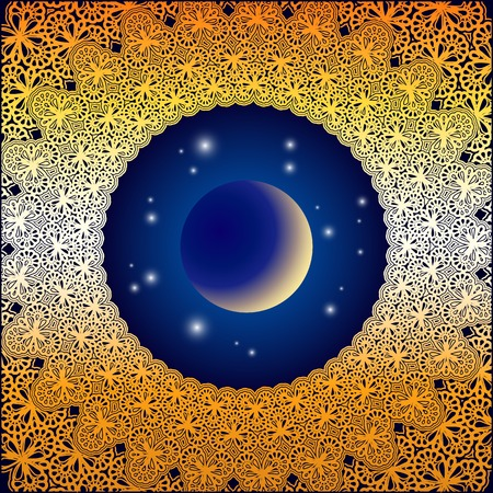 Astrological background with golden oriental ornaments, moon and stars Illustration