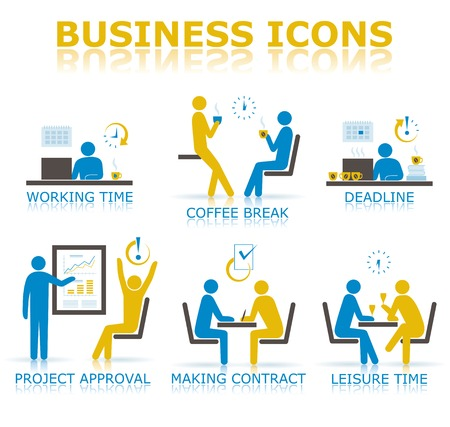 Business icons illustrating the working time in the office