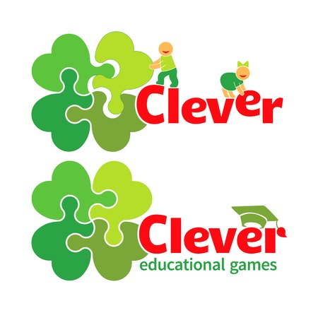 four leaved: Vector design elements illustrating children s educational games  children make up a word and collect puzzle; bachelor Illustration