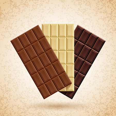 chocoholic: Three bars of chocolate  milk, white and dark on a cream background grunge Illustration