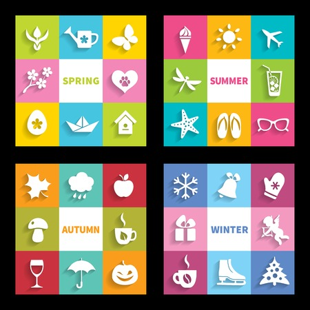 Set of 32 colorful flat icons four seasons  symbols and attributes of spring, summer, autumn and winter