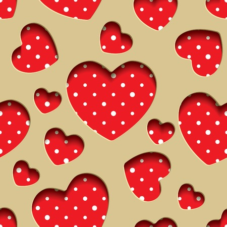 Red seamless texture in the form of application of the slotted hearts and polka dot fabric Vector