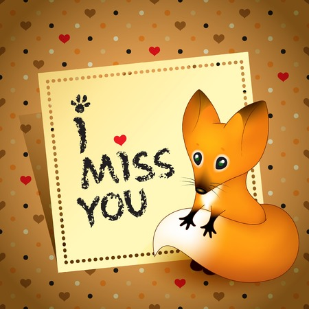 Nice enamored puppy fox with love note  I miss you  Illustration