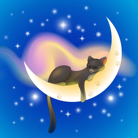Gatto nero che dorme pacificamente su una falce di luna che splende su un cielo stellato blu con la nuvola rosa