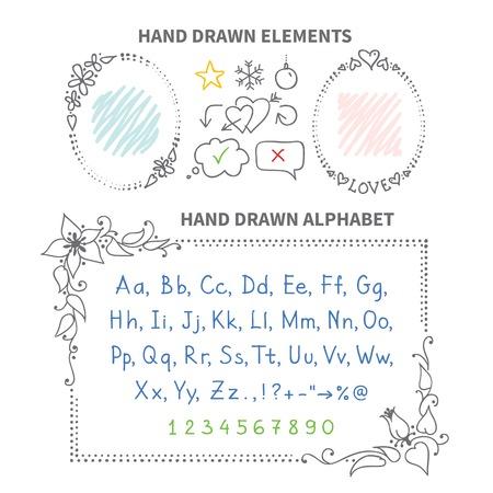 Vector hand drawn frames, alphabet, arrows and design elements Vector