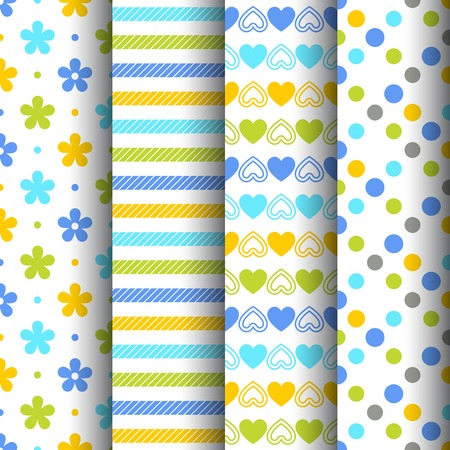 Set of four colorful retro seamless backgrounds with flowers, stripes, hearts and dots Vector