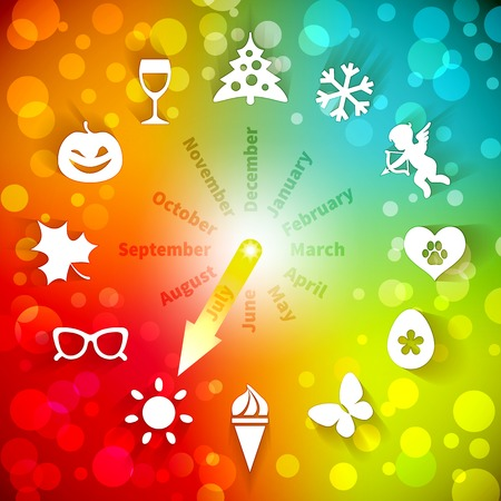 Colorful clock - calendar showing the seasons, months and holidays Vector