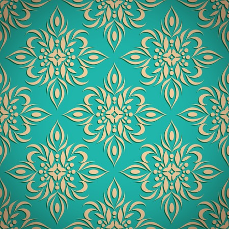 bas relief: Embossed vintage classic seamless floral pattern