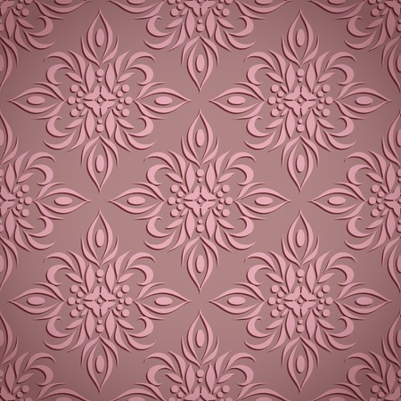 bas relief: Embossed vintage pale wine seamless floral pattern Illustration