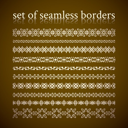 Set of seamless vintage borders and braids for page decoration, frame, fabric, tattoo etc  Vector