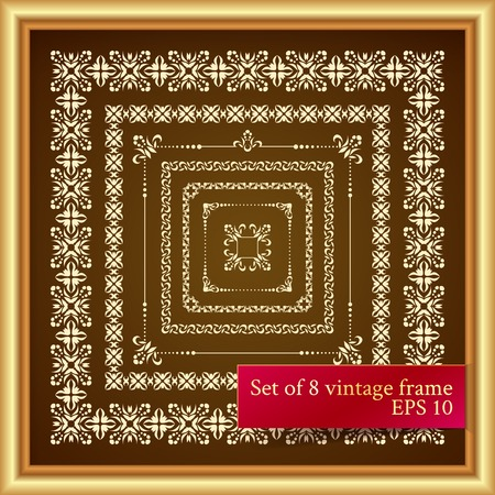 Set of 8 vintage decor elements  seven graphical borders and one golden frame  Vector