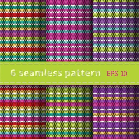 Set of 6 seamless knitted multicolor striped background Vector