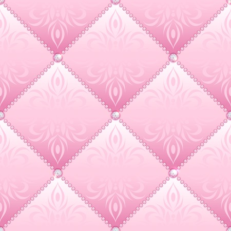 Pink glamor satin quilted seamless texture of fabric with diamond buttons and classic pattern Vettoriali