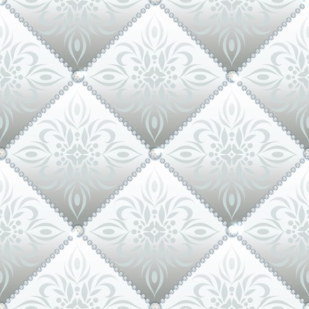 quilted fabric: Silver glamor satin quilted seamless texture of fabric with diamond buttons and classic pattern