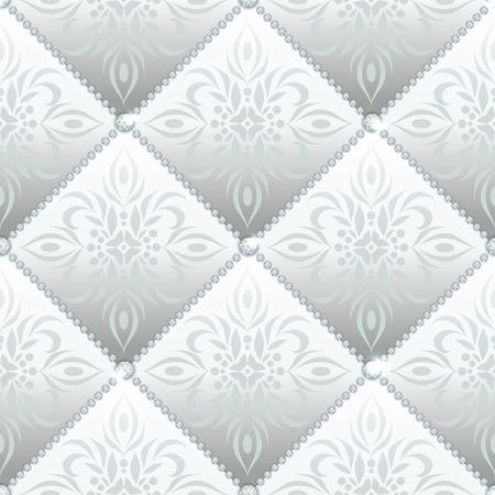 Zilver glamour satijnen gewatteerde naadloze textuur van de stof met diamant knoppen en klassieke patroon