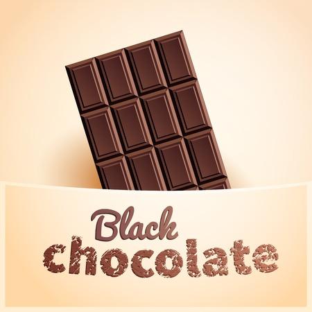 chocoholic: Bar of black chocolate in creamy pocket Illustration