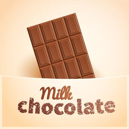 chocoholic: Bar of milk chocolate in creamy pocket Illustration