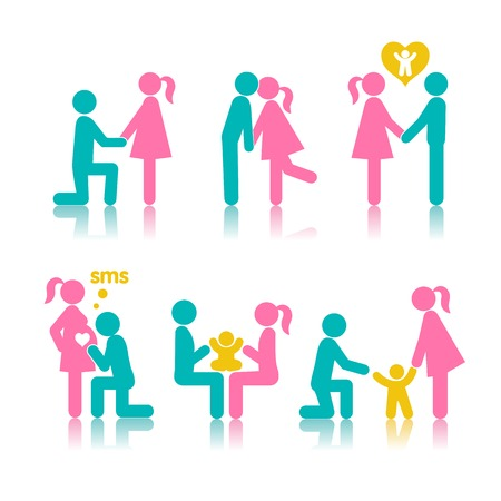Set of icons stages of creating a family. A meeting of lovers, planning pregnancy, birth and child-rearing. Vector