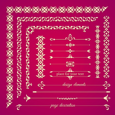 embroidery flower: Set of vintage calligraphic design elements. Page decoration, frames and borders