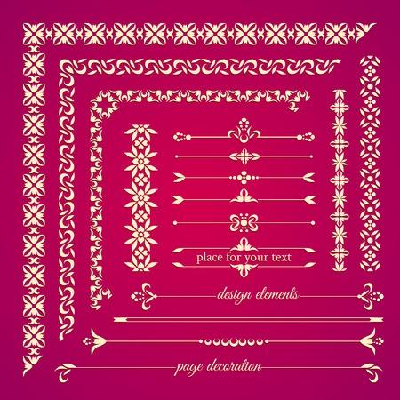 flower patterns: Set van vintage kalligrafische design elementen. Pagina decoratie, frames en grenzen