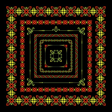 etnic: Set of isolated colorful folk decor graphical borders and frame on black background. Illustration