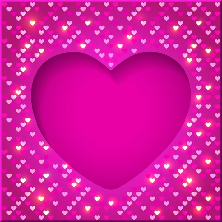 Jour cadre lumineux de Valentine brillant avec paillettes en forme de coeurs sur un fond rose dans le style disco Banque d'images - 33345485