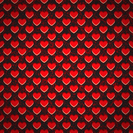 Seamless grunge background in the form of a perforated plastic sheet in red heart