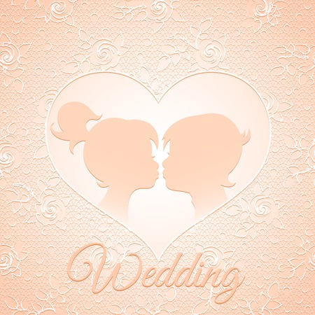 Delicate cream wedding card with a pair of kissing children on lace background in roses with a cut in the shape of heart Vector