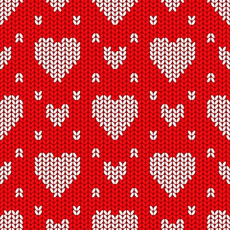 knitted background: Bright Valentines Day knitted seamless pattern with white hearts on a red background Illustration