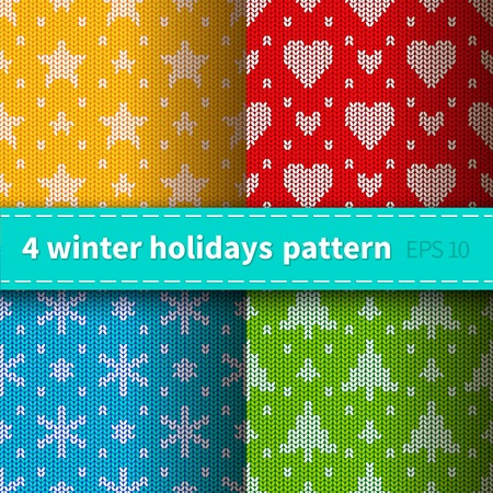 warmly: Set of 4 bright colorful seamless knitted patterns for winter holidays Illustration