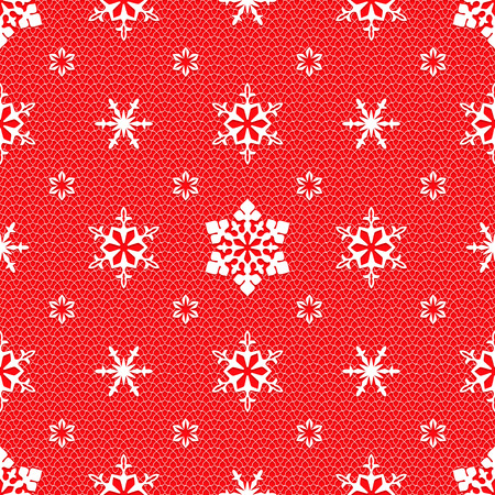 openwork: Christmas mesh lace seamless pattern with openwork snowflakes on red background