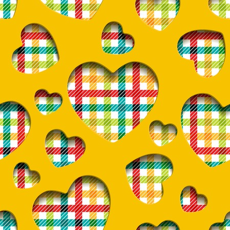slotted: Seamless texture, application of the slotted yellow hearts and colorful bright checkered cloth