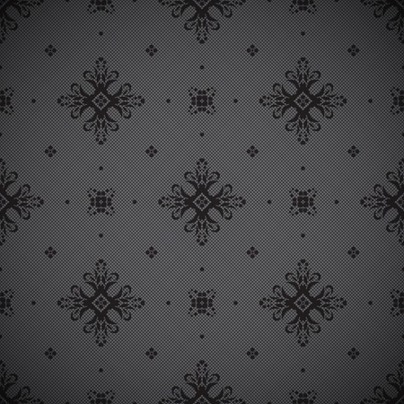 Seamless background with openwork embossed pattern and dots on black mesh fabric Vector
