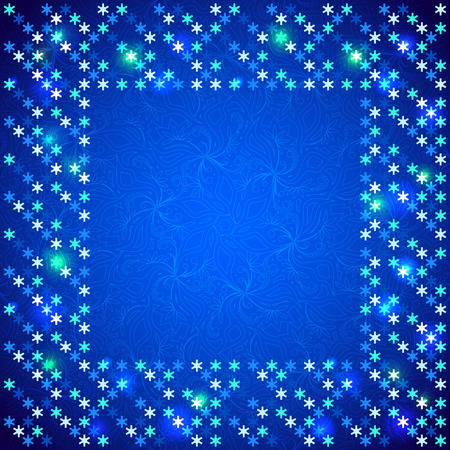spangles: Christmas bright frame with shiny sequins in the form of snowflakes on a dark blue background in disco style Illustration