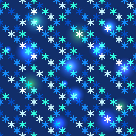 Christmas bright seamless with shiny sequins in the form of snowflakes on a dark blue background in disco style Vector