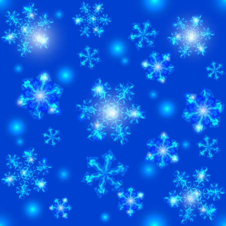 Blue Christmas seamless background, transparent crystal snowflakes and sparkles Vector