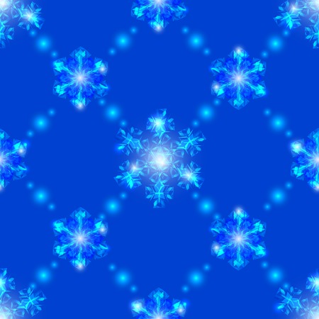 Blue Christmas seamless background, garlands of transparent crystal snowflakes and sparkles Vector