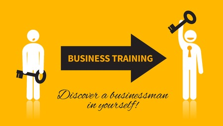 personal growth: Business icon of man with a key, who attended a training and discover a businessman in yourself with black and white elements on a yellow background