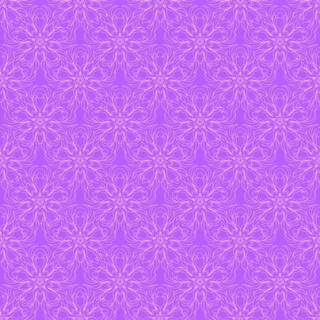 filamentous: Delicate openwork seamless pattern of pale pink filamentous floral ornament on a violet background