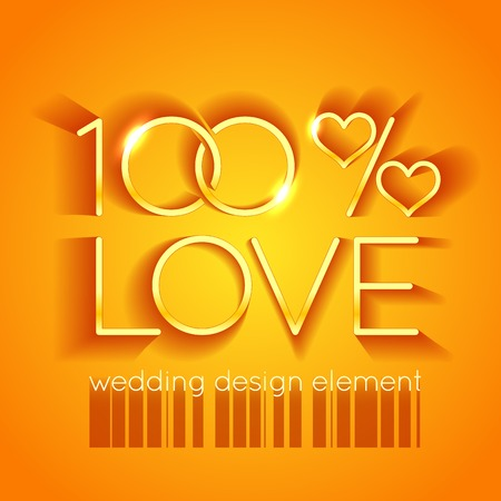 Bright wedding design element in the form of two glittering rings and hearts in the text 100 percent love on the gold background Vector