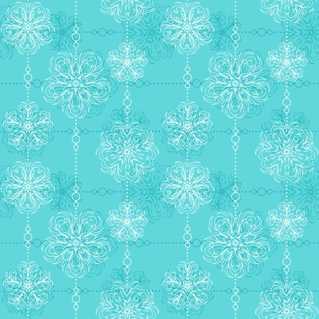 openwork: Bright lace seamless pattern - illustration of white openwork flowers strung on beads on turquoise background