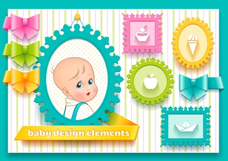 Collection of bright design elements such as frames, ribbons and bows for decoration child theme Vector