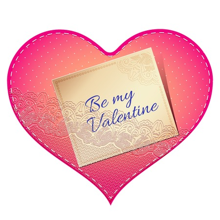 pink satin: Bright pink vintage lace card in the shape of satin heart with love note